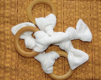 Organic Baby Teether, Organic Bambo Velour Wooden Knot Teether