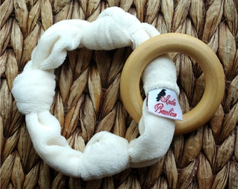 Organic Bamboo Teether for Baby, Wooden Teething Ring