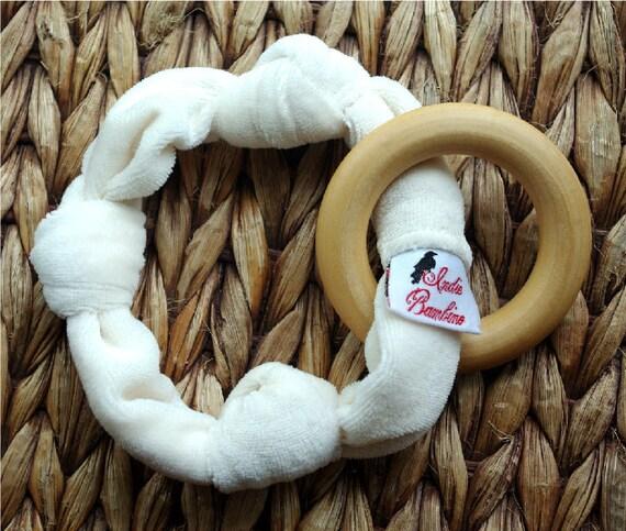 Teething Ring, Organic Bamboo Velour Knot Teether