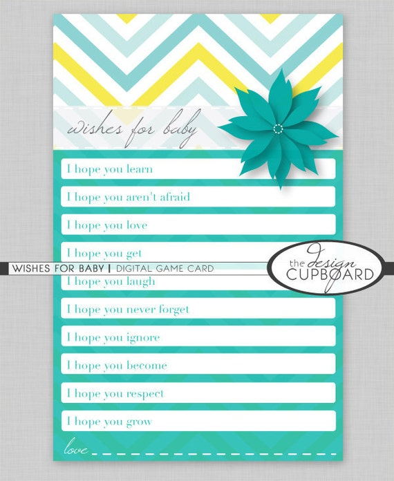 items similar to wishes for baby digital printable baby shower game
