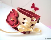 Leather Cuff Bracelet, Floral Bracelet, Butterfly Wristband, Statement Leather Jewelry, Leather Jewelry, Beige Red Bracelet, Wide Bracelet