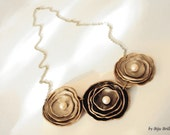 Sweet Cream Leather Flowers Chain Necklace with Pearls Leather jewelry Wedding Romantic