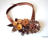 Chocolate Brown Leather Flowers Bib Necklace