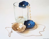 Leather Roses Beaded Pearl Chain Swarovski Necklace