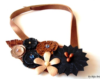 Leather Flowers Bib Necklace, Navy Blue, Copper Brown, Asymmetric, Leather Jewelry, Europe