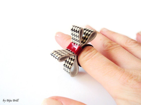 Leather Bow Ring Hounds-tooth Black White Red Ring British Inspired Leather Jewelry
