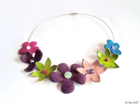 Summer Leather Necklace, Leather Flowers Bouquet, Beaded Necklace, Purple Green Blue, Floral Leather Collar