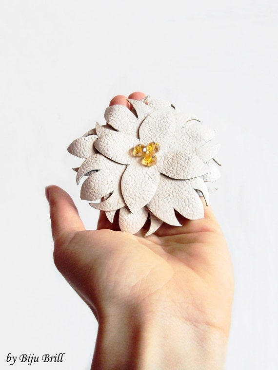 Big White Leather Flower Brooch Nude Cream Crystals Oversized Leather Accessory by BijuBrill
