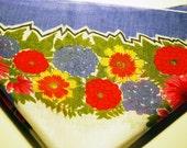Vintage Blue Purple Floral Hanky