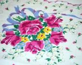 Vintage Purple Linen Floral Hanky