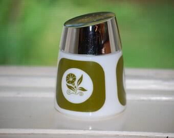 1960s Vintage Avocado Green Milk Glass Shaker