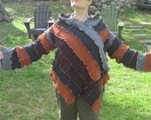 earthworms in the rain kimono wrap, shirt, recycled, upcycled clothing, mid weight, gypsy, vegan, orange grey