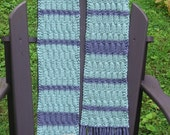 picnic in the rain scarf, hand knit, cotton, vegan, hippie, gypsy, fairy, elf, pixie, soft teal and purple