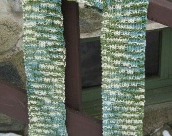 snake scales scarf, hand knit, vegan, cotton, skinny and super long, greens, teal, cream, hippie, boho, gypsy, earthy