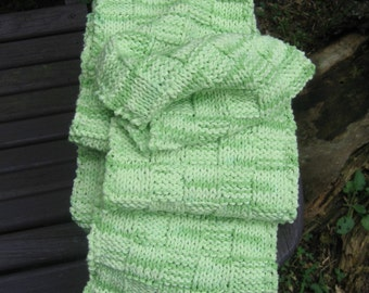 grasshopper on my sleeve scarf, hand knit, cotton, vegan, soft pale green, gypsy, hippie, woodland