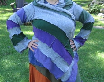 lilacs in the pitcher kimono wrap, light weight, recycled tshirts, upcycled clothing, vegan, medium, large,  xlarge, 2x, grey green purple
