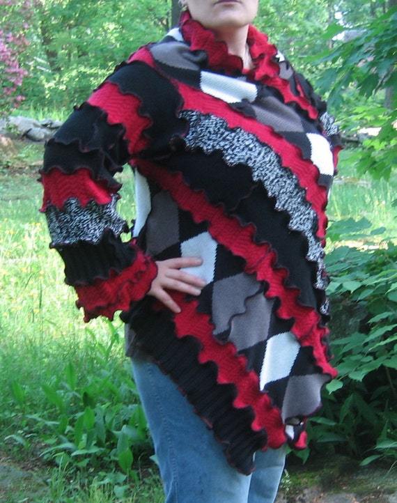 goblin blackjack kimono wrap sweater, recycled, vegan, black red white grey