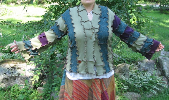 down at the campfire kimono sweater, light weight, shirt, recycled, vegan, upcycled clothing, green purple teal, large, extra large
