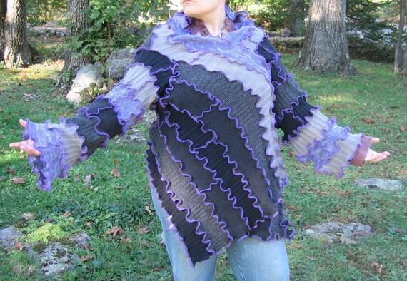 silent clouds at twilight kimono wrap sweater, vegan, recycled sweaters ,medium, large, extra large, 1x, 2x, lavender, purple, grey, black