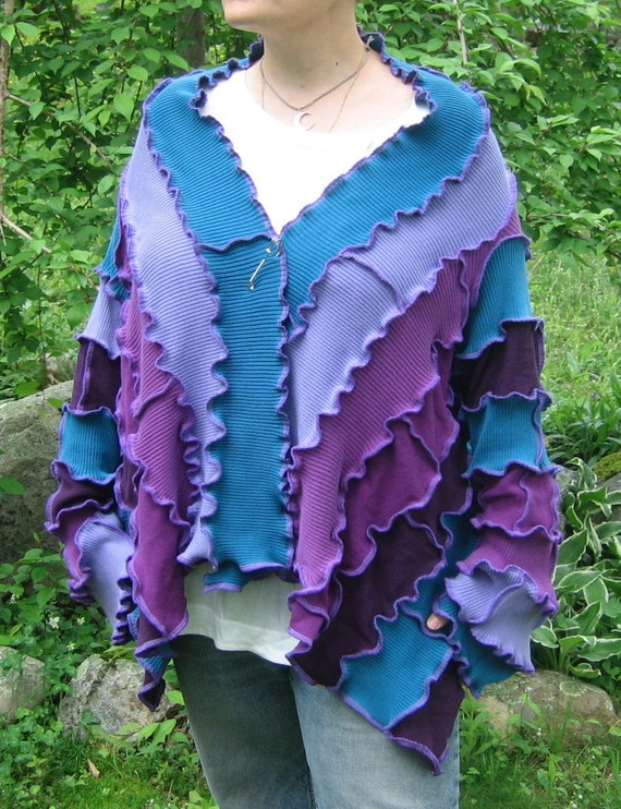 dragonfly wings short kimono wrap sweater, light/mid weight, vegan, recycled, upcycled clothing, pixie, gypsy, purple, lilac, lavender, teal