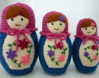 Knitting Pattern Russian Doll : Russian Matryoshka Babushka Nesting Dolls Crochet by CHDshop