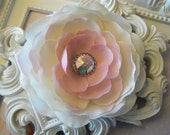 Sweet Varigated Pink & White Baby Peony Flower Clip or Headband Little Girls Babies and Ladies Vintage Chic