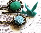 Swallow and Jade Blooms Hair Pin Set