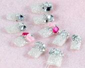 Japanese 3D Nail Art, Press On Nails, False Nails - Beautiful Silver Glittery Nail Tips with Rhinestones (T077N)