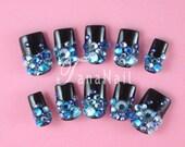 Japanese 3D Nail Art, Press On Nails, False Nails - Beautiful Back Nail Tips with Blue Rhinestones (T025N)