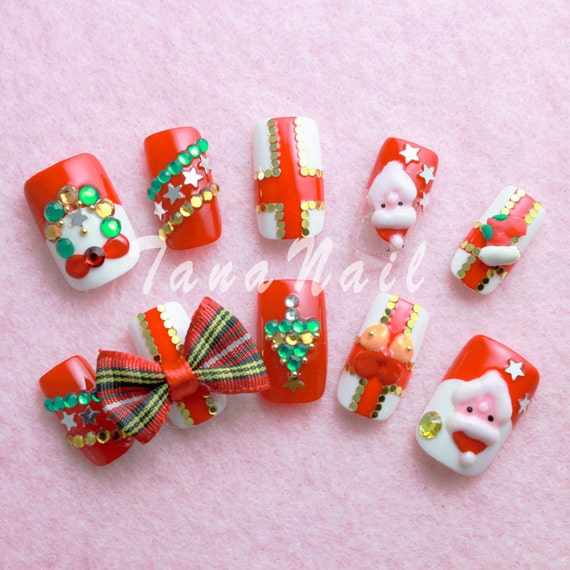 Santa Claus Nail Art: Japanese Nail Art Tips Christmas Design Santa By