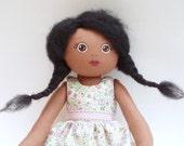 rag doll, african american rag doll, ethnic rag doll, pink floral dress