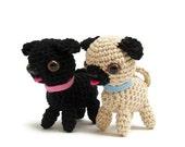 Crochet pug dog pattern pdf, miniature animal crochet instructions, amigurumi dog