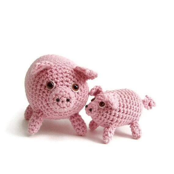amigurumi pig and piglet crochet mommy and baby pig