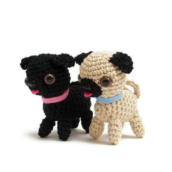 Amigurumi Free Patterns Dog : Crochet pug dog pattern pdf miniature animal crochet by Lybo