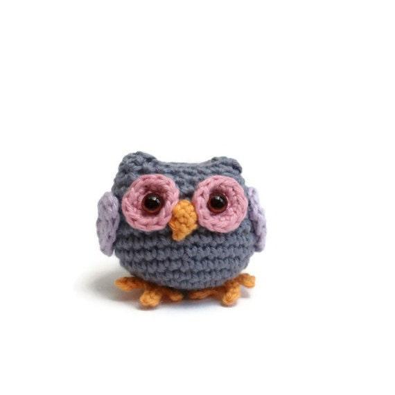 crochet owl, tiny blue gray crochet amigurumi owl