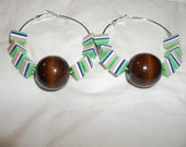 Basketball wives tribal hoop earrings afrocentric eclectic tribal Africa Jamaican rasta fun stripe women Big chocolate brown ball beads