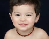 SPECIAL OFFER of 2  multicolored Baltic Amber teething necklace for your baby handmade knotted. BTNPN15