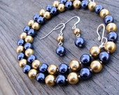 Notre Dame Navy and Gold Collegiate Pearls Tailgating Team Spirit Necklace and Dangle Earring SET