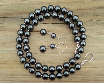 Black Pearl Necklace and Earring Special Occasion Dangle Set- great for business attire, weddings, & USC/Pittsburg Steeler collegiate wear