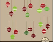 Trio Christmas Ornament clip art digital illustration Black and color PNG (CLP0074)