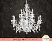 Chandelier clipart vintage french digital illustration for scrapbooking wedding invitation (KG025)