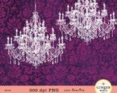 Chandelier clipart, vintage french, crystal chandelier clip art, wedding invitation