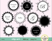 Ornate Monogram Tags, Frames, Circles Clipart Digital elements for scrapbooking invites (CA138)