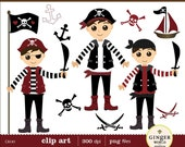 Pirate Boy clipart digital file illustration for scrapbooking, DIY invitation (CA142)