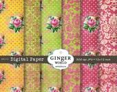 rose flower Vintage Digital Paper pack for scrapbooking DIY invitation