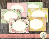 shabby chic Label Sticker printable digital sheet for scrapbooking, journaling spot, gift tag (LB10)