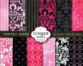 Urban city girl pink damask chic Digital Paper Pack for scrapbooking invitation DG139