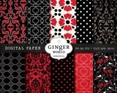 Hot sexy Red Digital Paper Pack for scrapbooking invitation DG151