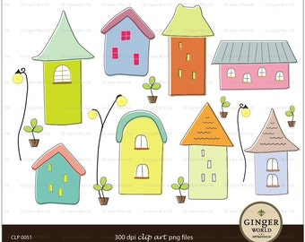 whimsical house Sweet Home Clip art digital illustration for scrapbooking (CLP0051)