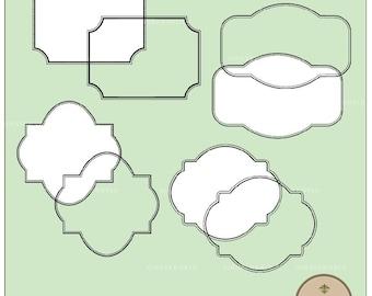 4 Frames borders Clip art digital sheet for scrapbooking DIY invites (CLP0006)